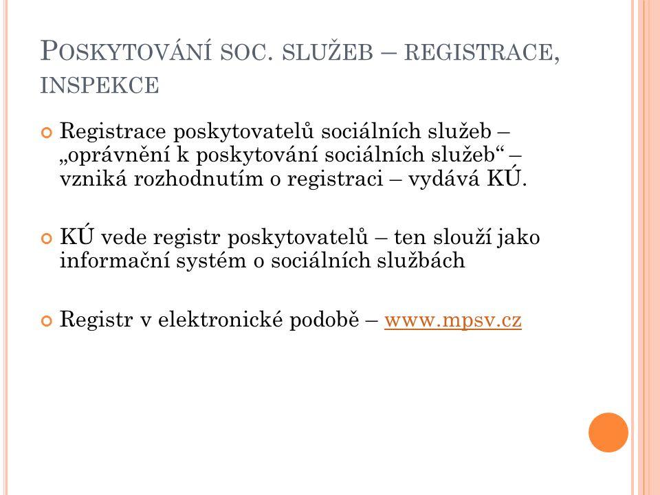 I NSPEKCE POSKYTOVÁNÍ SOCIÁLNÍCH SLUŽEB U těch, kteří mají registraci Předmětem je: Plnění podmínek poskytovatelů soc.