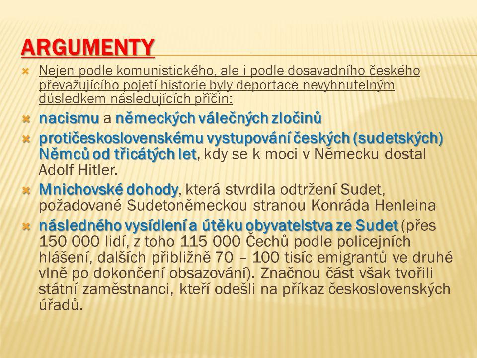 ARGUMENTY  Nejen podle komunistického, ale i podle dosavadního českého převažujícího pojetí historie byly deportace nevyhnutelným důsledkem následují