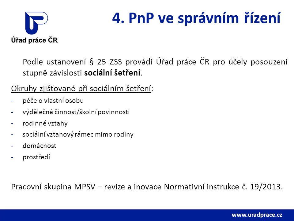 4. PnP ve správním řízení Podle ustanovení § 25 ZSS provádí Úřad práce ČR pro účely posouzení stupně závislosti sociální šetření. Okruhy zjišťované př
