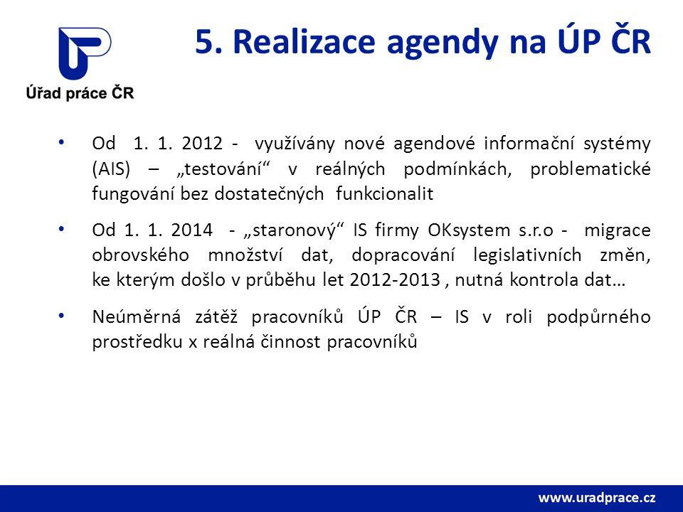 5. Realizace agendy na ÚP ČR Od 1. 1.