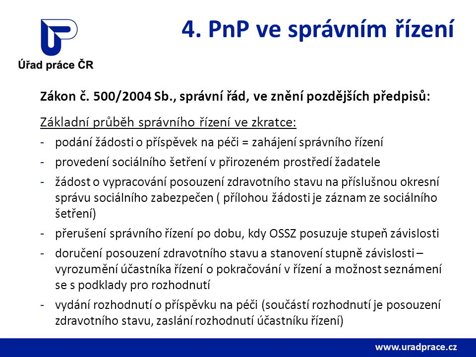 4. PnP ve správním řízení Zákon č.