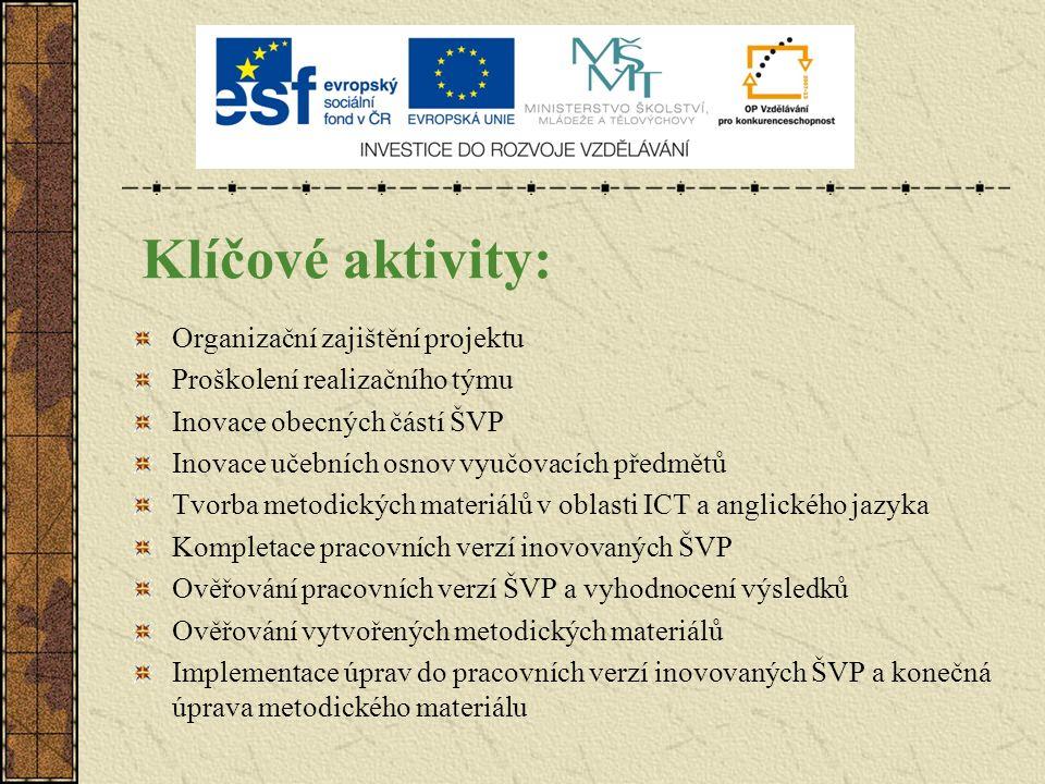 Klíčové aktivity: Organizační zajištění projektu Proškolení realizačního týmu Inovace obecných částí ŠVP Inovace učebních osnov vyučovacích předmětů T