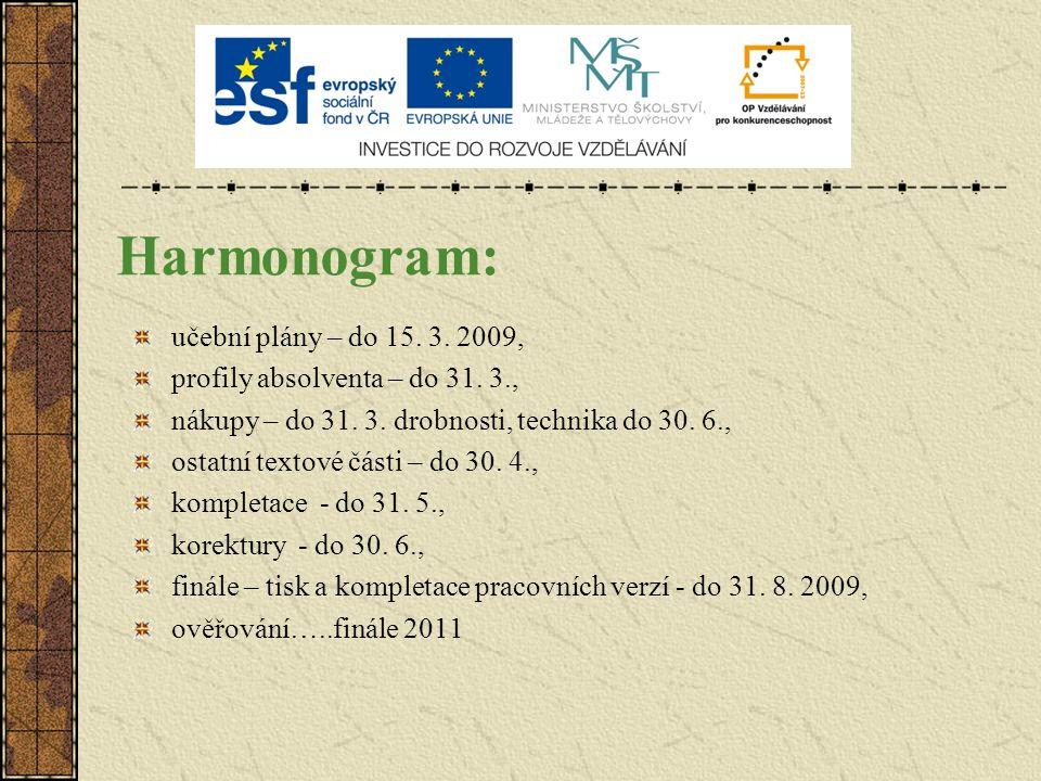 Harmonogram: učební plány – do 15. 3. 2009, profily absolventa – do 31. 3., nákupy – do 31. 3. drobnosti, technika do 30. 6., ostatní textové části –