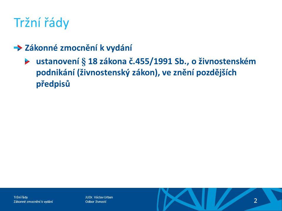 JUDr. Václav Urban Odbor živností Tržní řády Zákonné zmocnění k vydání 13 Děkuji za pozornost