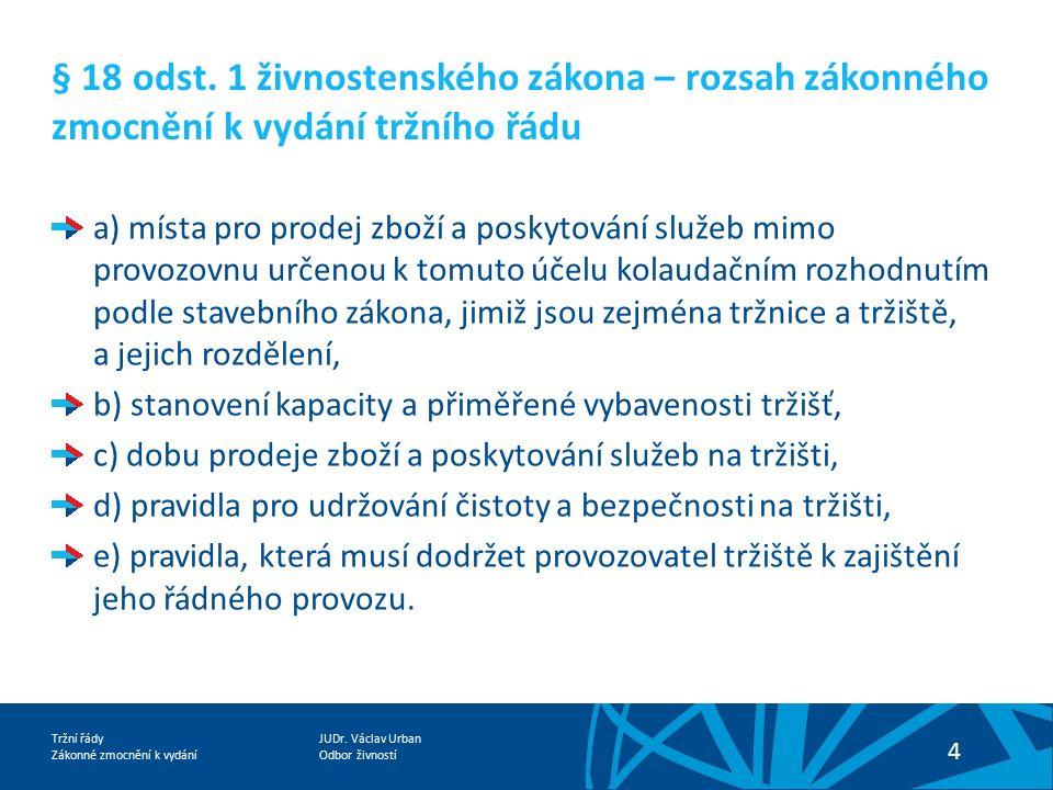 JUDr.Václav Urban Odbor živností Tržní řády Zákonné zmocnění k vydání 5 § 18 odst.