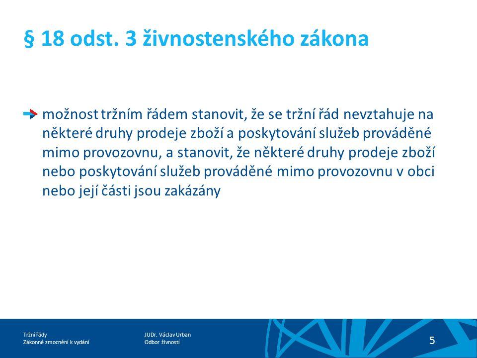 JUDr. Václav Urban Odbor živností Tržní řády Zákonné zmocnění k vydání 5 § 18 odst. 3 živnostenského zákona možnost tržním řádem stanovit, že se tržní