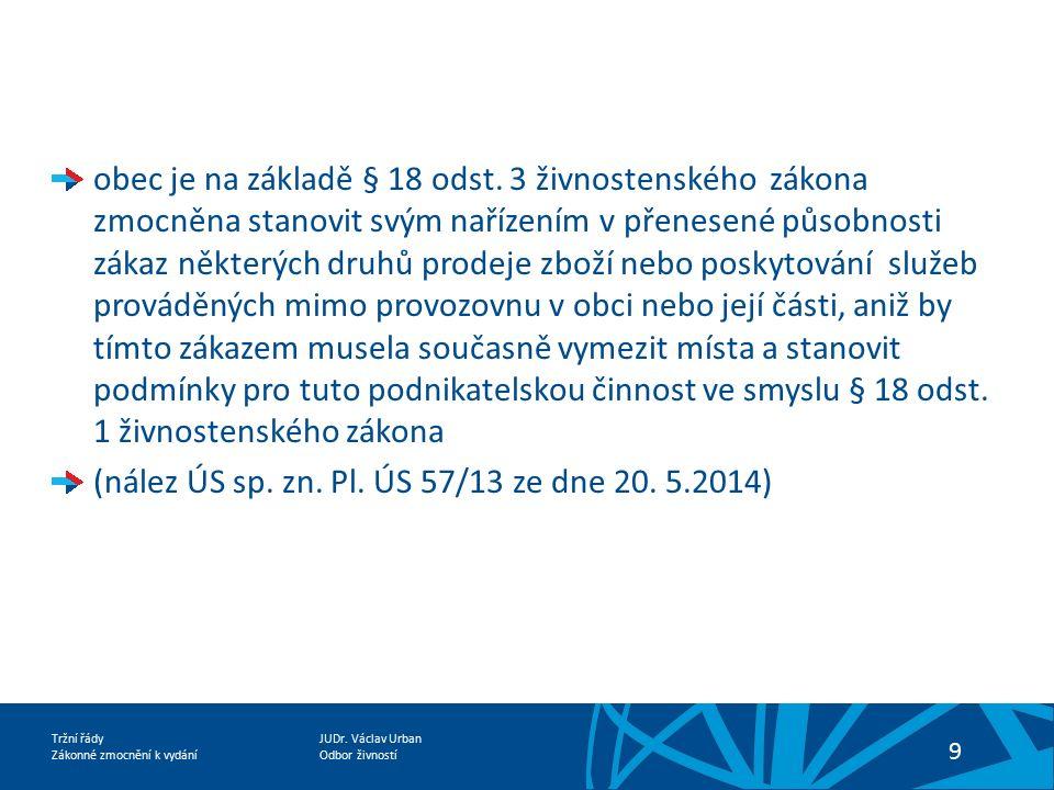 JUDr. Václav Urban Odbor živností Tržní řády Zákonné zmocnění k vydání 9 obec je na základě § 18 odst. 3 živnostenského zákona zmocněna stanovit svým