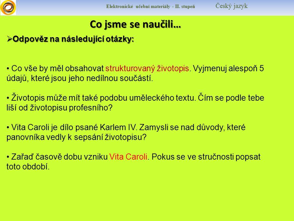 Zdroje Elektronické učební materiály - II.