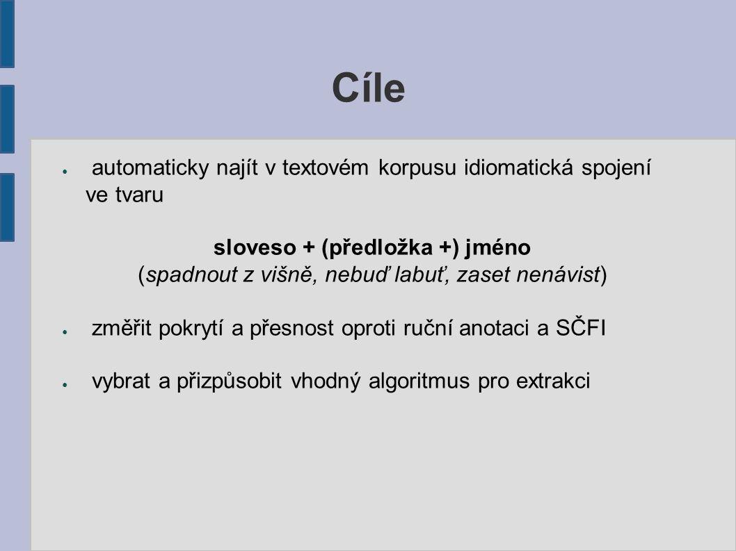 ● automaticky najít v textovém korpusu idiomatická spojení ve tvaru sloveso + (předložka +) jméno (spadnout z višně, nebuď labuť, zaset nenávist) ● zm