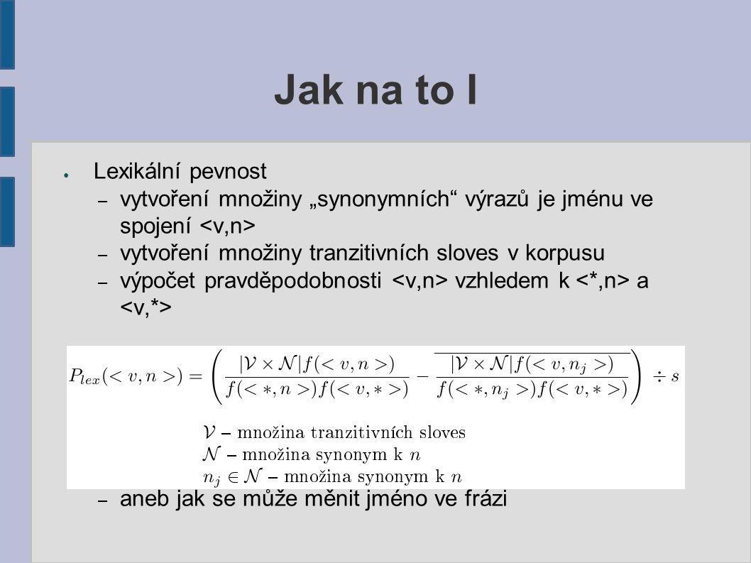 """● Lexikální pevnost – vytvoření množiny """"synonymních"""" výrazů je jménu ve spojení – vytvoření množiny tranzitivních sloves v korpusu – výpočet pravděpo"""