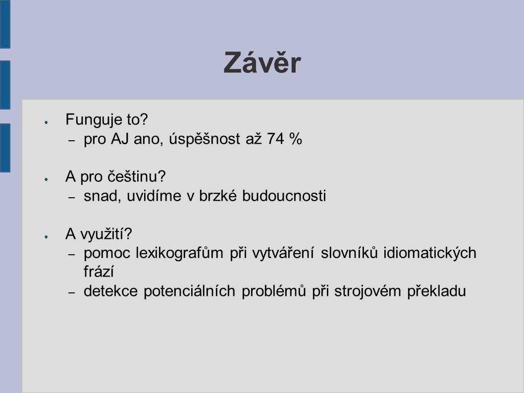 Závěr ● Funguje to? – pro AJ ano, úspěšnost až 74 % ● A pro češtinu? – snad, uvidíme v brzké budoucnosti ● A využití? – pomoc lexikografům při vytváře