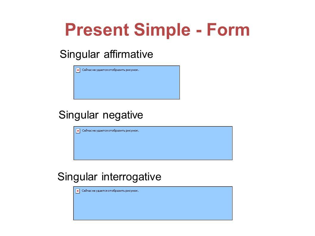 Present Simple - Form Singular affirmative Singular negative Singular interrogative