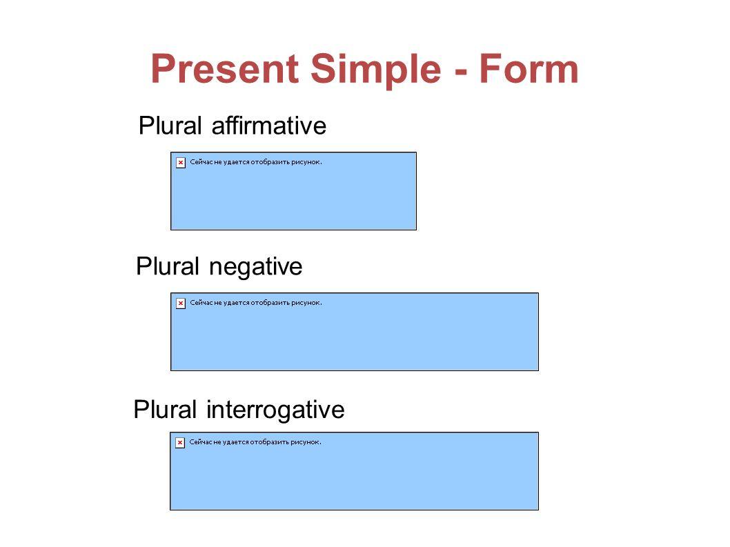 Present Simple - Form Plural affirmative Plural negative Plural interrogative
