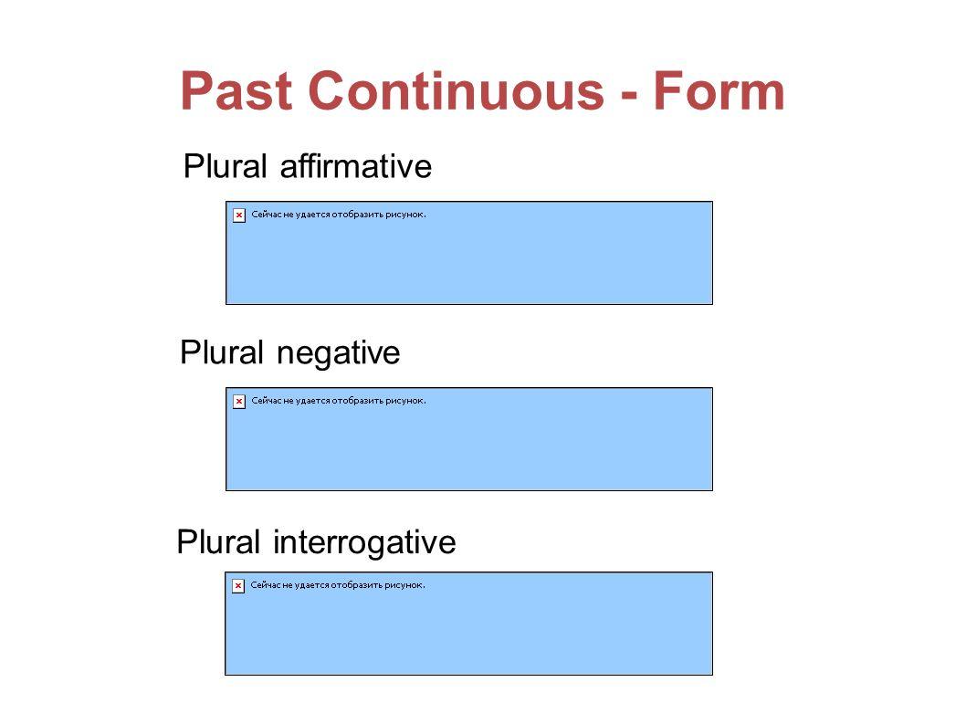 Past Continuous - Form Plural affirmative Plural negative Plural interrogative