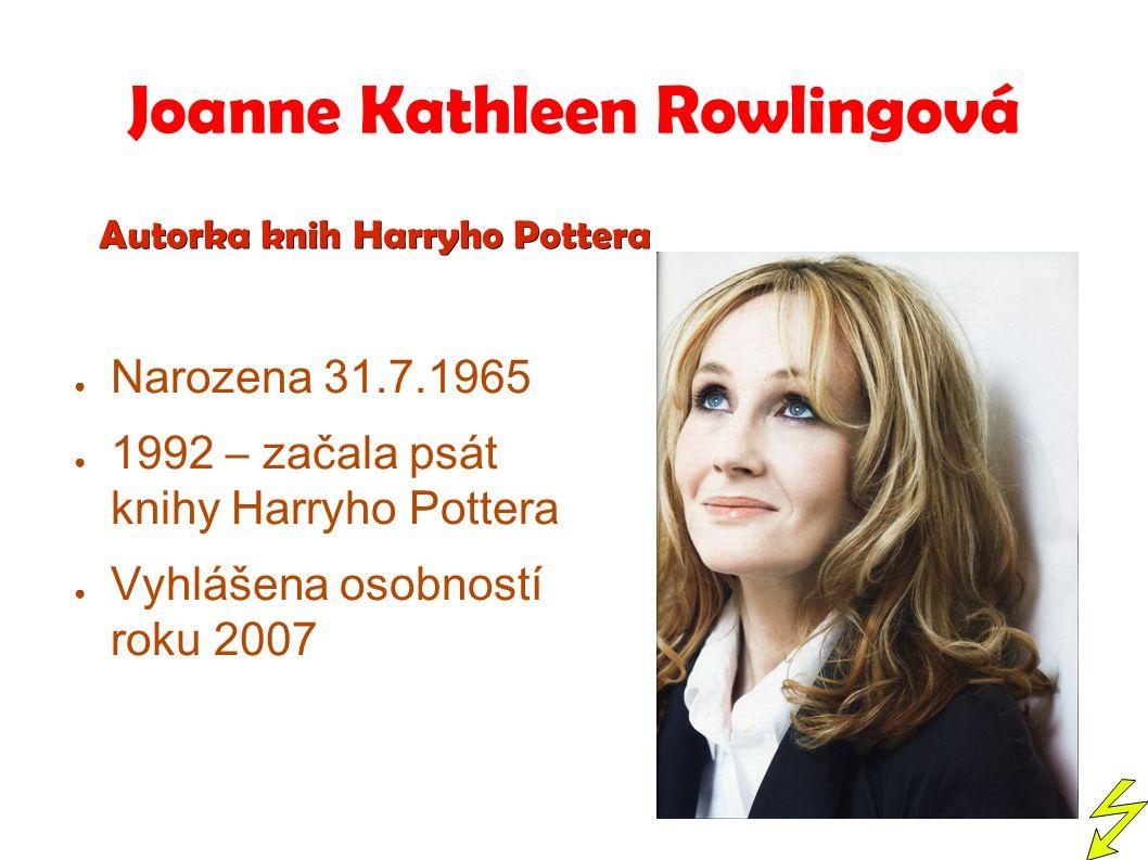 Joanne Kathleen Rowlingová ● Narozena 31.7.1965 ● 1992 – začala psát knihy Harryho Pottera ● Vyhlášena osobností roku 2007 Autorka knih Harryho Pottera Autorka knih Harryho Pottera
