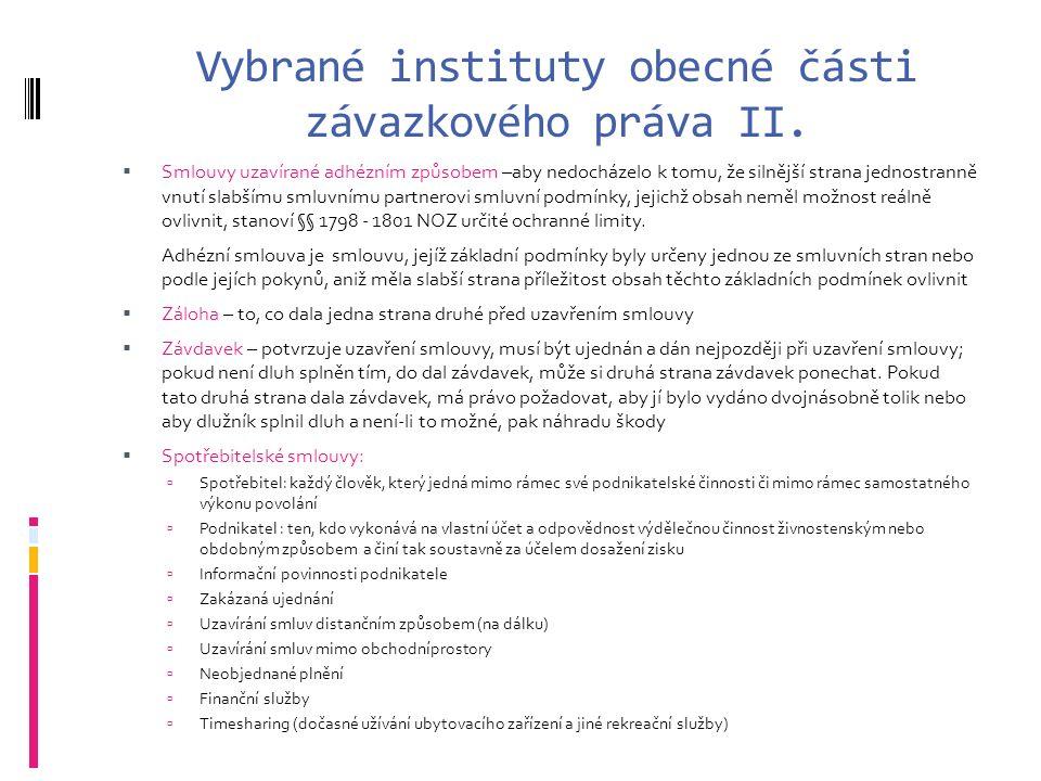 Vybrané instituty obecné části závazkového práva II.