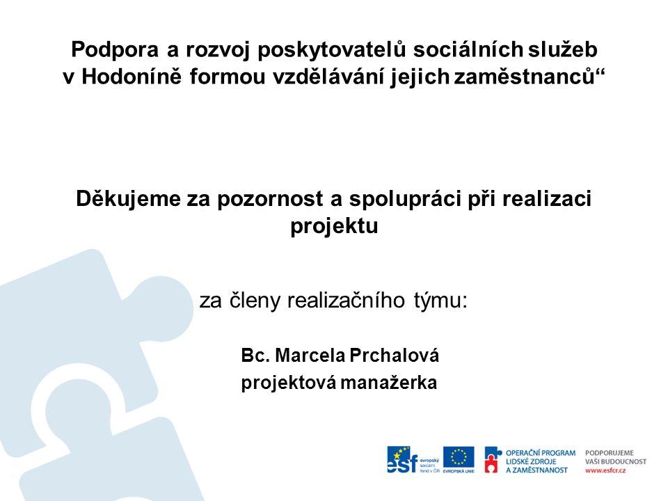 Děkujeme za pozornost a spolupráci při realizaci projektu za členy realizačního týmu: Bc.