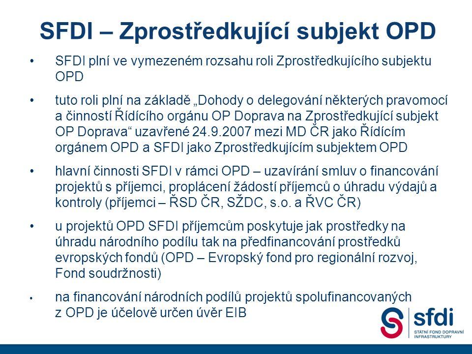 """SFDI – Zprostředkující subjekt OPD SFDI plní ve vymezeném rozsahu roli Zprostředkujícího subjektu OPD tuto roli plní na základě """"Dohody o delegování některých pravomocí a činností Řídícího orgánu OP Doprava na Zprostředkující subjekt OP Doprava uzavřené 24.9.2007 mezi MD ČR jako Řídícím orgánem OPD a SFDI jako Zprostředkujícím subjektem OPD hlavní činnosti SFDI v rámci OPD – uzavírání smluv o financování projektů s příjemci, proplácení žádostí příjemců o úhradu výdajů a kontroly (příjemci – ŘSD ČR, SŽDC, s.o."""