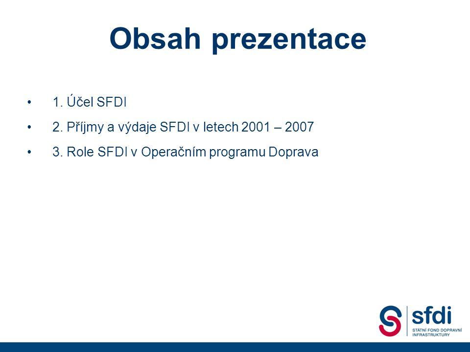 1. Účel SFDI 2. Příjmy a výdaje SFDI v letech 2001 – 2007 3.