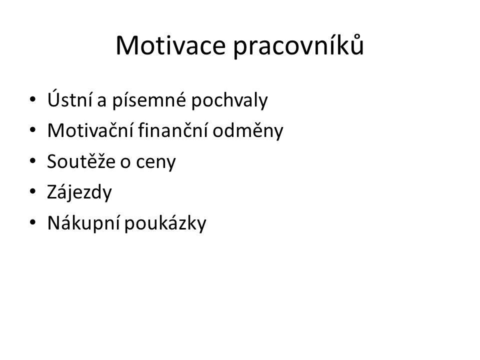 Motivace pracovníků Ústní a písemné pochvaly Motivační finanční odměny Soutěže o ceny Zájezdy Nákupní poukázky