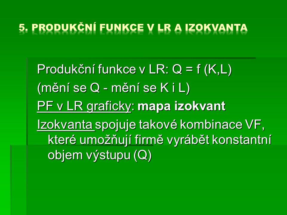 Produkční funkce v LR: Q = f (K,L) (mění se Q - mění se K i L) PF v LR graficky: mapa izokvant Izokvanta spojuje takové kombinace VF, které umožňují firmě vyrábět konstantní objem výstupu (Q)