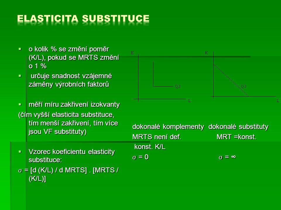  o kolik % se změní poměr (K/L), pokud se MRTS změní o 1 %  určuje snadnost vzájemné záměny výrobních faktorů  měří míru zakřivení izokvanty (čím vyšší elasticita substituce, tím menší zakřivení, tím více jsou VF substituty)  Vzorec koeficientu elasticity substituce:  = [d (K/L) / d MRTS].