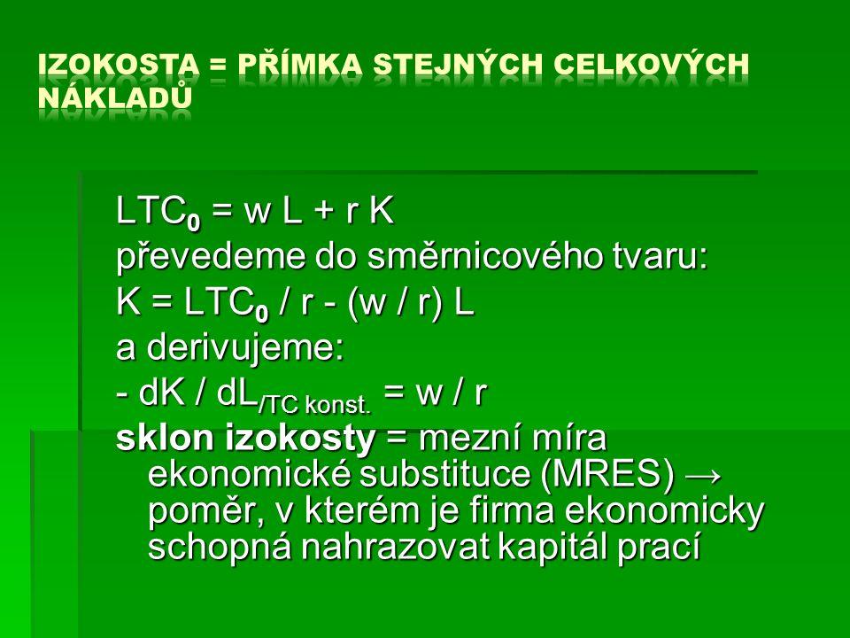LTC 0 = w L + r K převedeme do směrnicového tvaru: K = LTC 0 / r - (w / r) L a derivujeme: - dK / dL /TC konst.