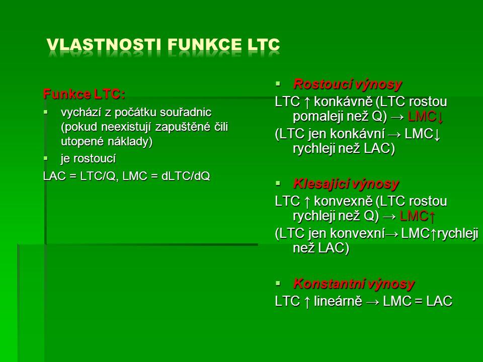 Funkce LTC:  vychází z počátku souřadnic (pokud neexistují zapuštěné čili utopené náklady)  je rostoucí LAC = LTC/Q, LMC = dLTC/dQ  Rostoucí výnosy LTC ↑ konkávně (LTC rostou pomaleji než Q) → LMC↓ (LTC jen konkávní → LMC↓ rychleji než LAC)  Klesající výnosy LTC ↑ konvexně (LTC rostou rychleji než Q) → LMC↑ (LTC jen konvexní→ LMC↑rychleji než LAC)  Konstantní výnosy LTC ↑ lineárně → LMC = LAC