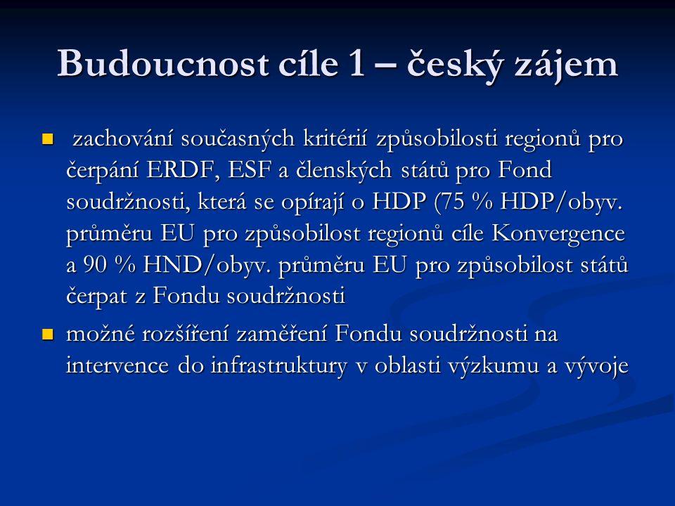 Budoucnost cíle 1 – český zájem zachování současných kritérií způsobilosti regionů pro čerpání ERDF, ESF a členských států pro Fond soudržnosti, která se opírají o HDP (75 % HDP/obyv.
