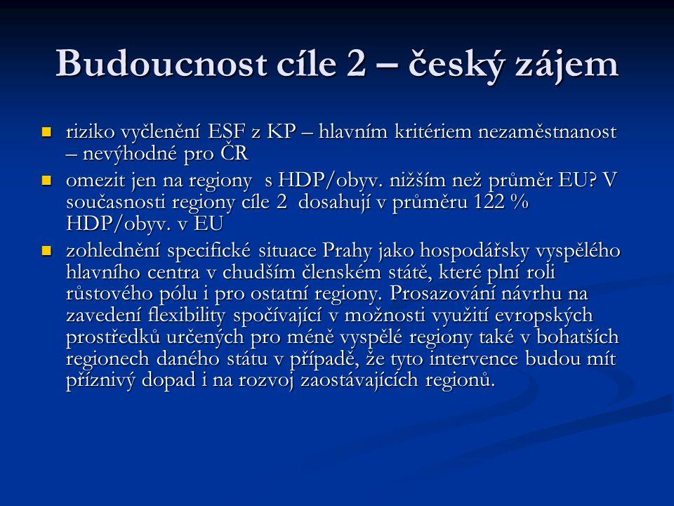 Budoucnost cíle 2 – český zájem riziko vyčlenění ESF z KP – hlavním kritériem nezaměstnanost – nevýhodné pro ČR riziko vyčlenění ESF z KP – hlavním kritériem nezaměstnanost – nevýhodné pro ČR omezit jen na regiony s HDP/obyv.