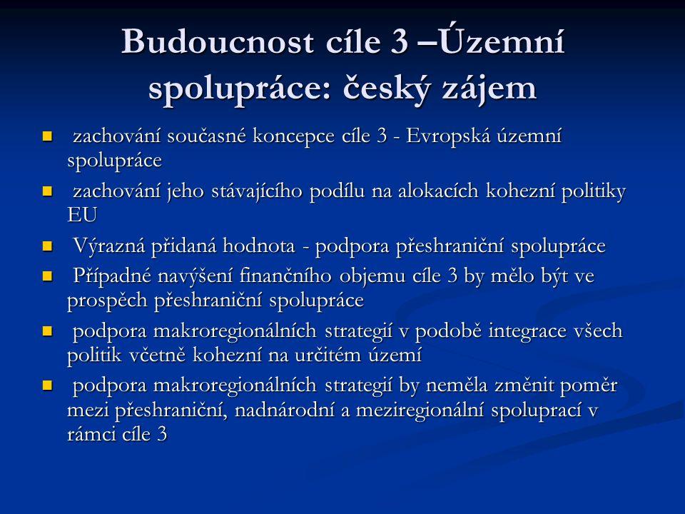 Budoucnost cíle 3 –Územní spolupráce: český zájem zachování současné koncepce cíle 3 - Evropská územní spolupráce zachování současné koncepce cíle 3 - Evropská územní spolupráce zachování jeho stávajícího podílu na alokacích kohezní politiky EU zachování jeho stávajícího podílu na alokacích kohezní politiky EU Výrazná přidaná hodnota - podpora přeshraniční spolupráce Výrazná přidaná hodnota - podpora přeshraniční spolupráce Případné navýšení finančního objemu cíle 3 by mělo být ve prospěch přeshraniční spolupráce Případné navýšení finančního objemu cíle 3 by mělo být ve prospěch přeshraniční spolupráce podpora makroregionálních strategií v podobě integrace všech politik včetně kohezní na určitém území podpora makroregionálních strategií v podobě integrace všech politik včetně kohezní na určitém území podpora makroregionálních strategií by neměla změnit poměr mezi přeshraniční, nadnárodní a meziregionální spoluprací v rámci cíle 3 podpora makroregionálních strategií by neměla změnit poměr mezi přeshraniční, nadnárodní a meziregionální spoluprací v rámci cíle 3
