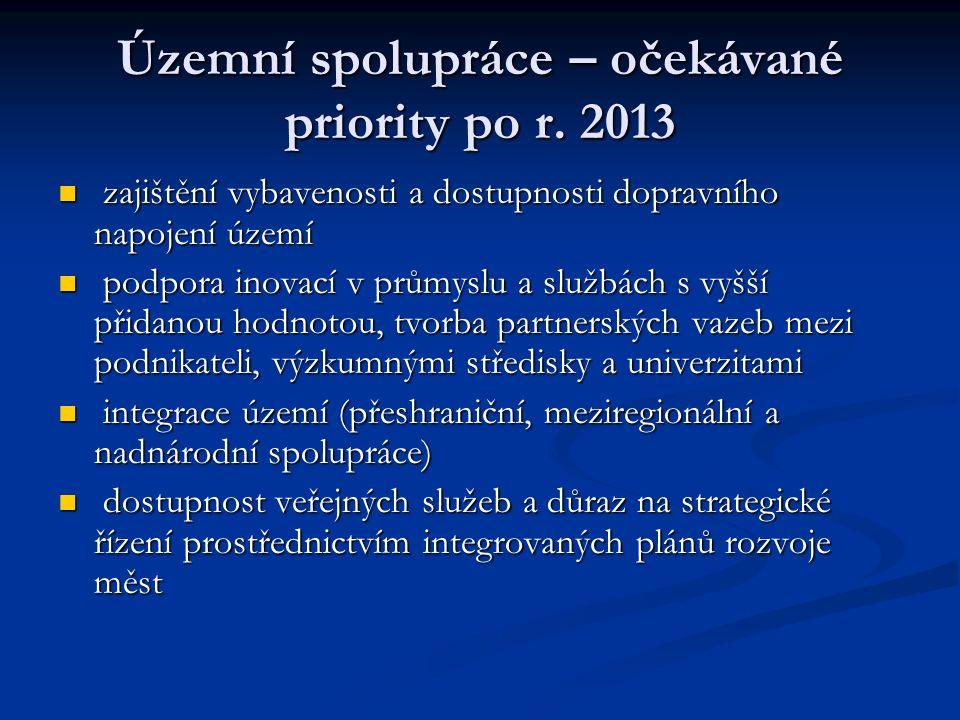 Územní spolupráce – očekávané priority po r.