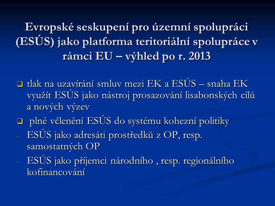 Evropské seskupení pro územní spolupráci (ESÚS) jako platforma teritoriální spolupráce v rámci EU – výhled po r.