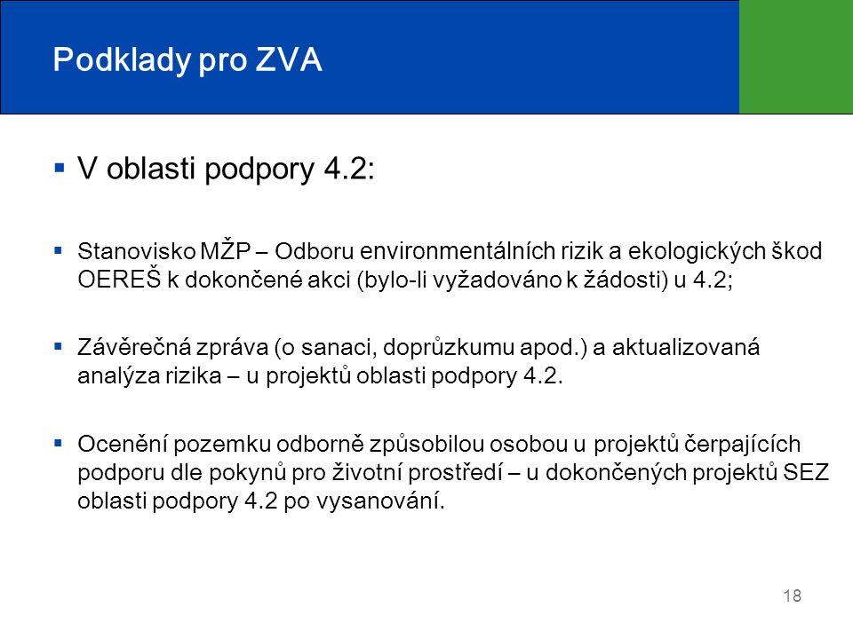 Podklady pro ZVA  V oblasti podpory 4.2:  Stanovisko MŽP – Odboru environmentálních rizik a ekologických škod OEREŠ k dokončené akci (bylo-li vyžadováno k žádosti) u 4.2;  Závěrečná zpráva (o sanaci, doprůzkumu apod.) a aktualizovaná analýza rizika – u projektů oblasti podpory 4.2.