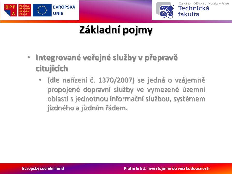 Evropský sociální fond Praha & EU: Investujeme do vaší budoucnosti Základní pojmy Integrované veřejné služby v přepravě citujících Integrované veřejné služby v přepravě citujících (dle nařízení č.