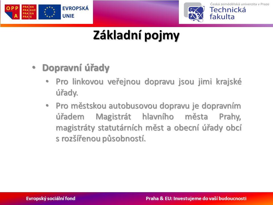 Evropský sociální fond Praha & EU: Investujeme do vaší budoucnosti Základní pojmy Dopravní úřady Dopravní úřady Pro linkovou veřejnou dopravu jsou jimi krajské úřady.