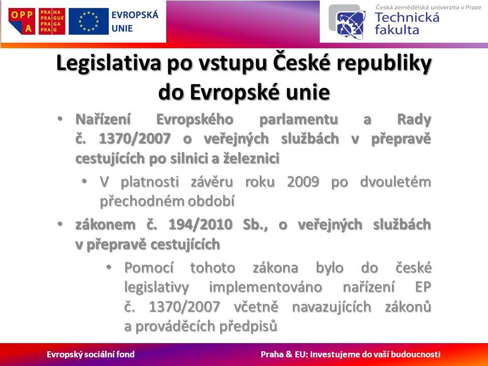 Evropský sociální fond Praha & EU: Investujeme do vaší budoucnosti Legislativa po vstupu České republiky do Evropské unie Nařízení Evropského parlamentu a Rady č.
