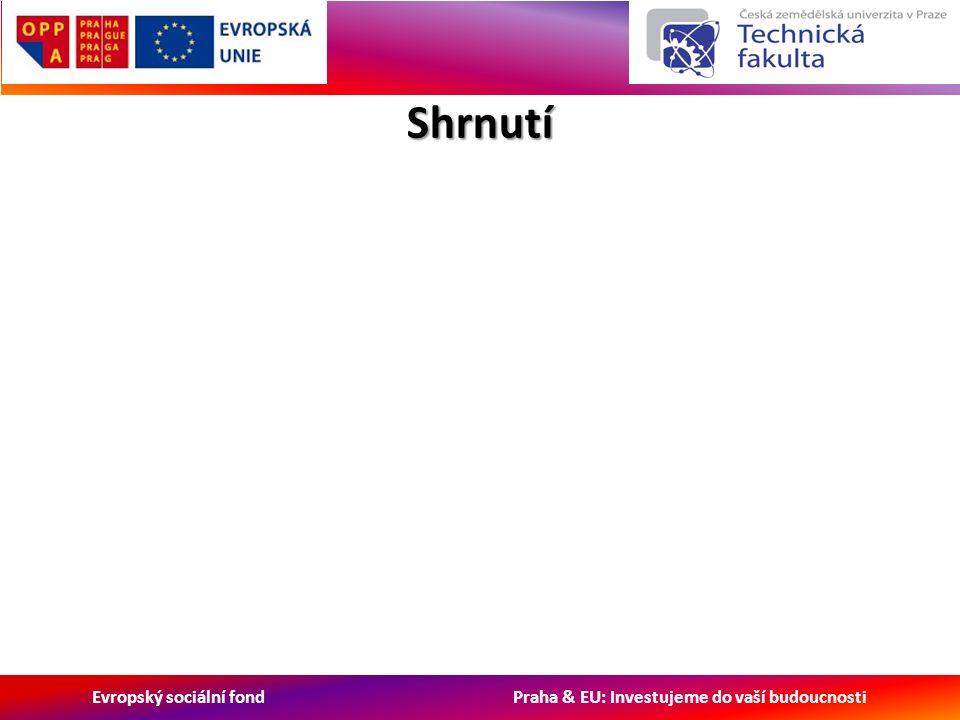 Evropský sociální fond Praha & EU: Investujeme do vaší budoucnosti Shrnutí