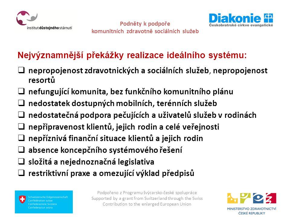 Podněty k podpoře komunitních zdravotně sociálních služeb Nejvýznamnější překážky realizace ideálního systému:  nepropojenost zdravotnických a sociál