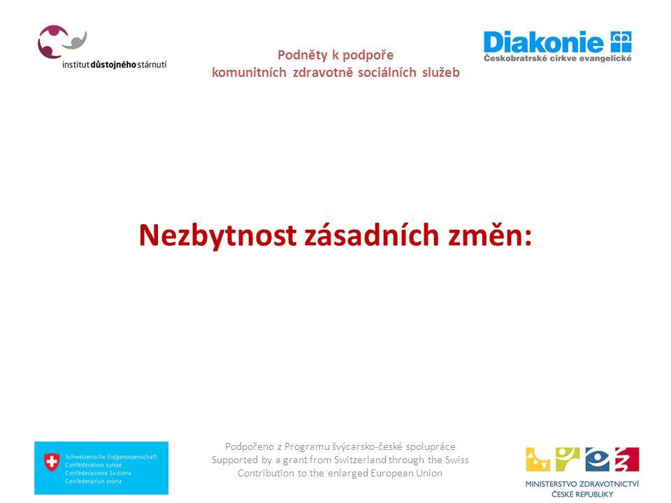 Podněty k podpoře komunitních zdravotně sociálních služeb Nezbytnost zásadních změn: Podpořeno z Programu švýcarsko-české spolupráce Supported by a gr