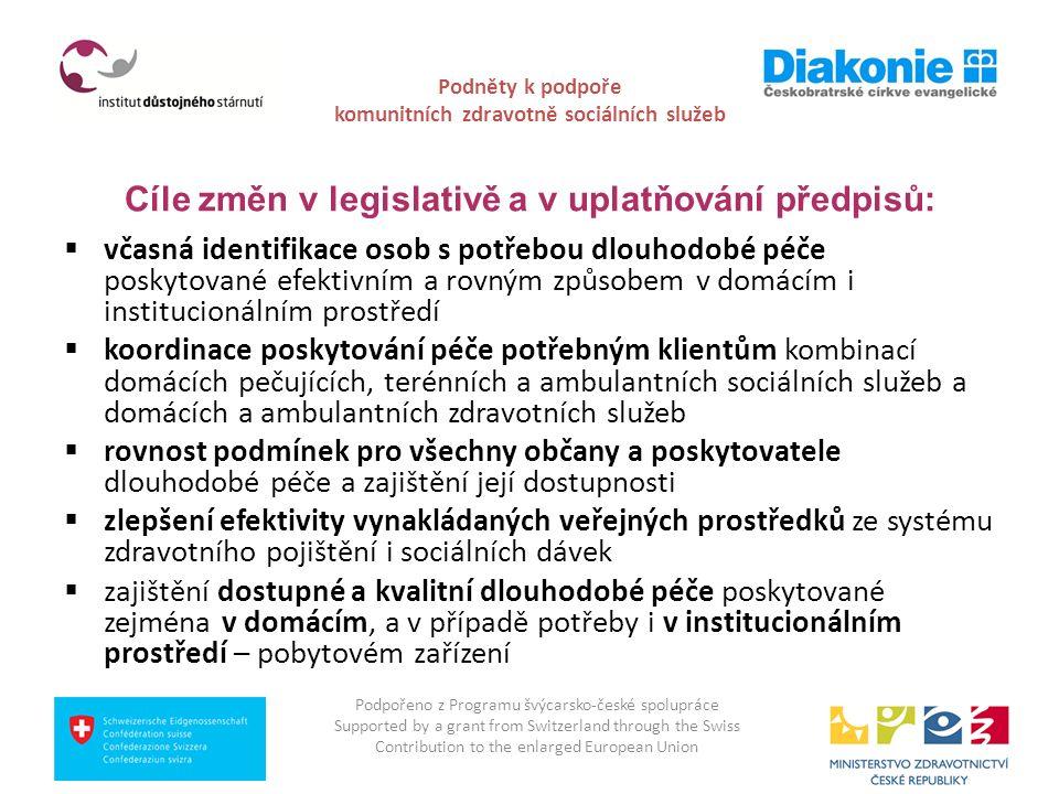 Podněty k podpoře komunitních zdravotně sociálních služeb Cíle změn v legislativě a v uplatňování předpisů:  včasná identifikace osob s potřebou dlou