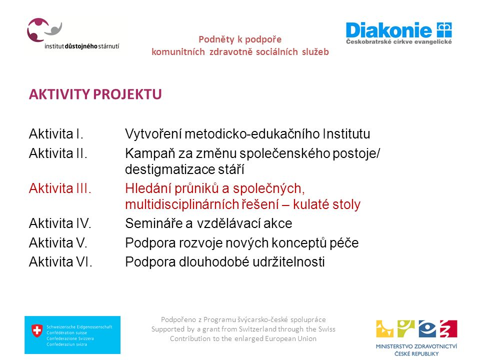 Podněty k podpoře komunitních zdravotně sociálních služeb Hledání průniků a společných, multidisciplinárních řešení - Aktivita č.