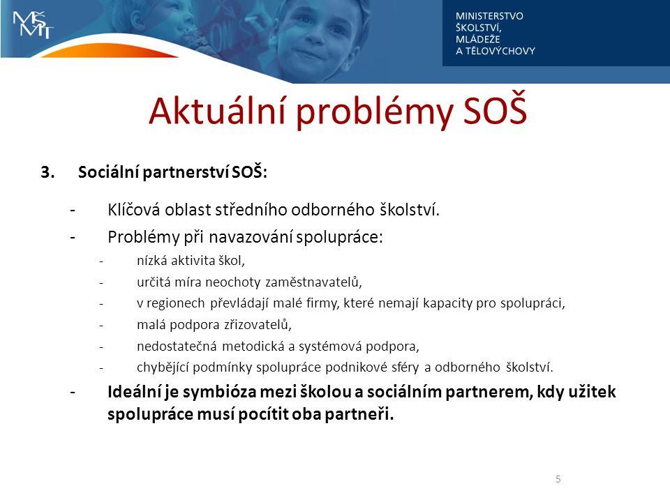 Aktuální problémy SOŠ 3. Sociální partnerství SOŠ: -Klíčová oblast středního odborného školství.
