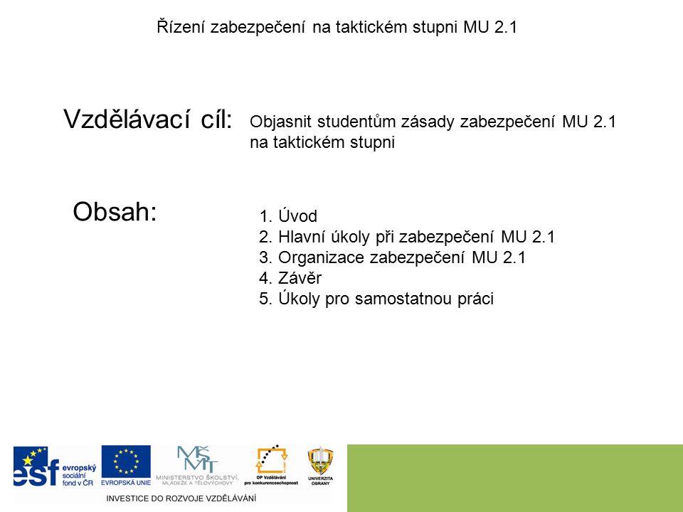 Vzdělávací cíl: Obsah: Řízení zabezpečení na taktickém stupni MU 2.1 Objasnit studentům zásady zabezpečení MU 2.1 na taktickém stupni 1.