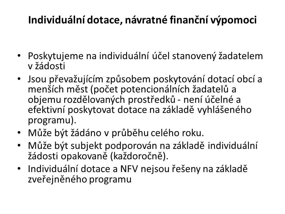 Individuální dotace, návratné finanční výpomoci Poskytujeme na individuální účel stanovený žadatelem v žádosti Jsou převažujícím způsobem poskytování dotací obcí a menších měst (počet potencionálních žadatelů a objemu rozdělovaných prostředků - není účelné a efektivní poskytovat dotace na základě vyhlášeného programu).
