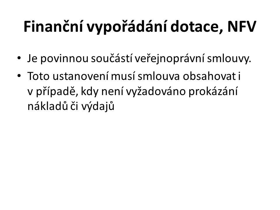 Finanční vypořádání dotace, NFV Je povinnou součástí veřejnoprávní smlouvy.