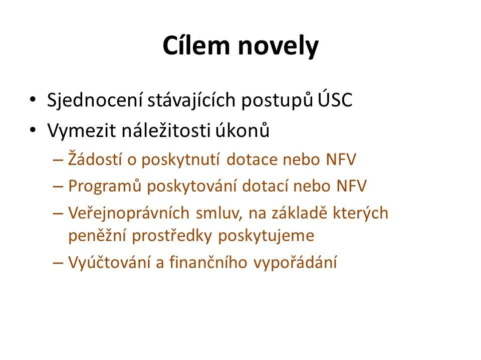 Cílem novely Sjednocení stávajících postupů ÚSC Vymezit náležitosti úkonů – Žádostí o poskytnutí dotace nebo NFV – Programů poskytování dotací nebo NFV – Veřejnoprávních smluv, na základě kterých peněžní prostředky poskytujeme – Vyúčtování a finančního vypořádání