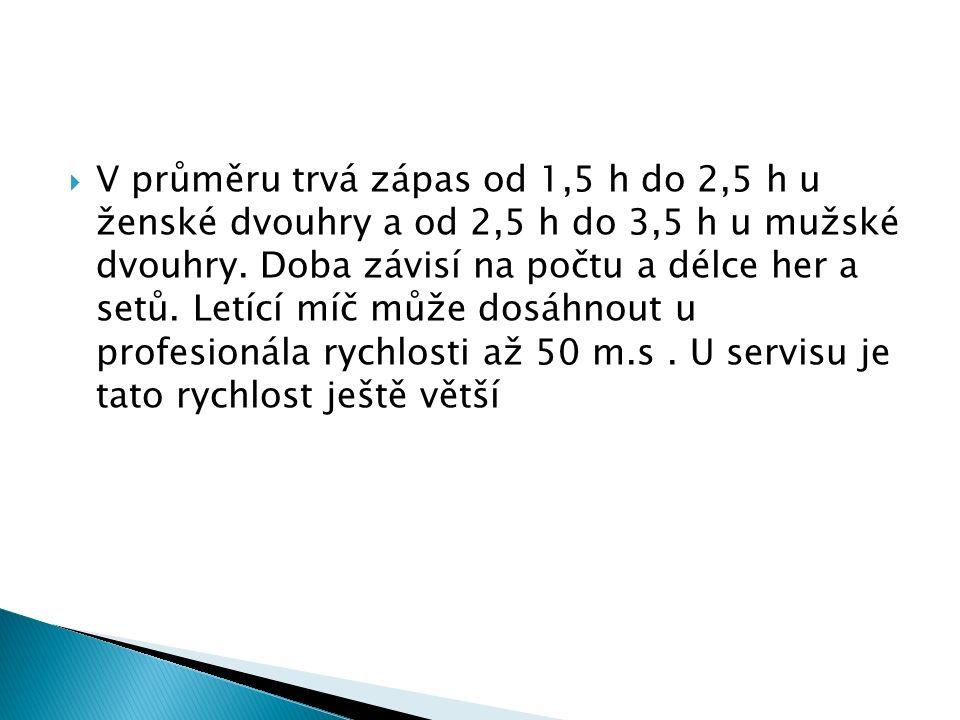  V průměru trvá zápas od 1,5 h do 2,5 h u ženské dvouhry a od 2,5 h do 3,5 h u mužské dvouhry.