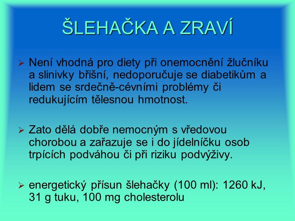ŠLEHAČKA A ZRAVÍ   Není vhodná pro diety při onemocnění žlučníku a slinivky břišní, nedoporučuje se diabetikům a lidem se srdečně-cévními problémy či redukujícím tělesnou hmotnost.