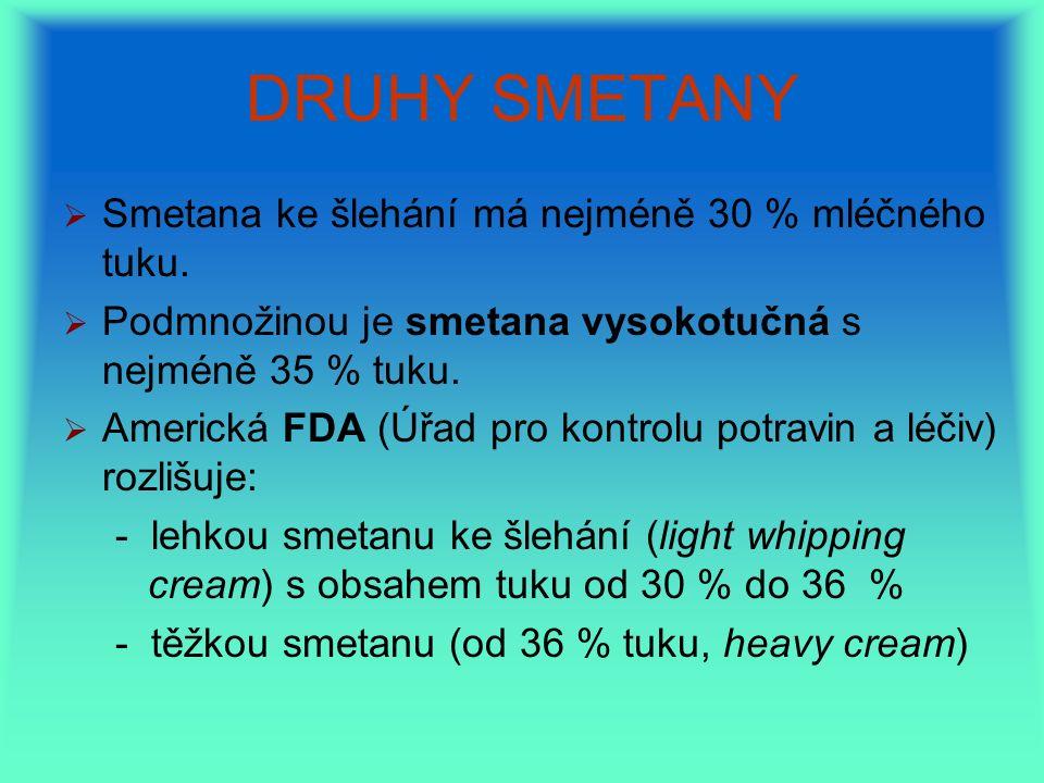 DRUHY SMETANY   Smetana ke šlehání má nejméně 30 % mléčného tuku.   Podmnožinou je smetana vysokotučná s nejméně 35 % tuku.   Americká FDA (Úřad